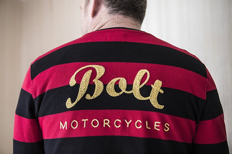bolt motorcycles hand embroidered birthday jersey